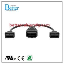 16 pin OBD2 OBDII Splitter Extension Cable Male to Dual Female Cable