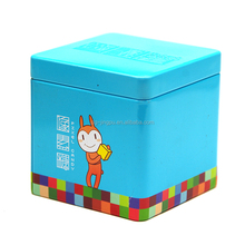 Custom color printing embossed cartoon design sweet candy cube tin can