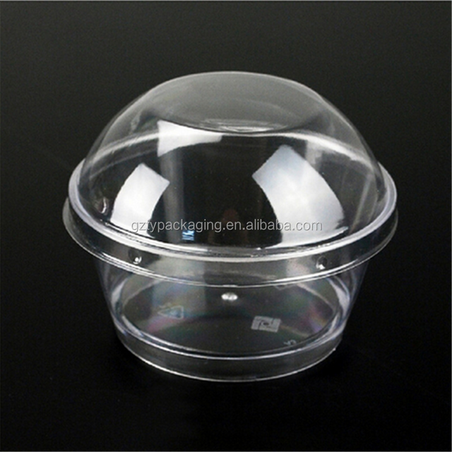 Wholesale Transparent Mousse Cake Clear Plastic Container Jelly Ice Cream Bowl with lid