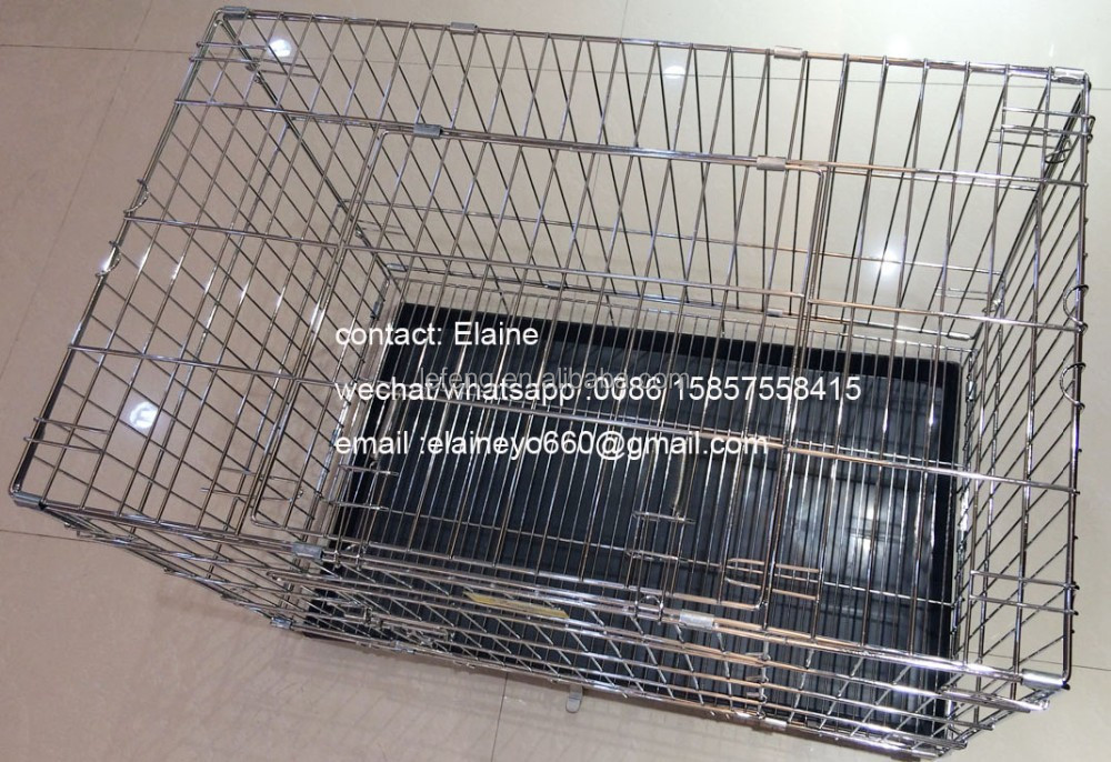 folding stainless steel large dog cage