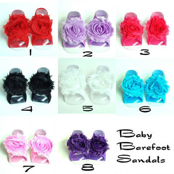 Baby Barefoot Sandals with Shabby Flower