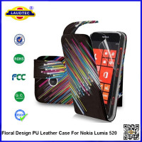 Classical butterfly printing style PU leather flip case for Nokia 520 Accessories Made In China Factory--Laudtec
