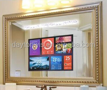 15.6 inch tempered glass surface waterproof photo frame mirror TV
