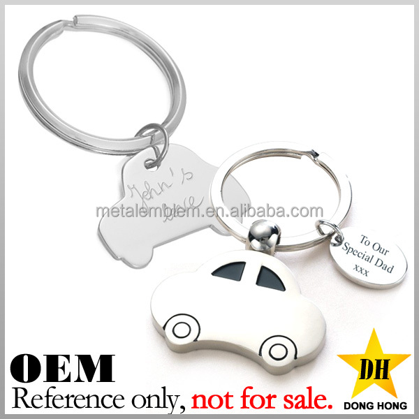 promotion fancy cheap logo engraved custom shaped metal car keychain