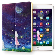 Cute Lovely pattern Universal Protective Genuine Real 100% Leather Ultra thin case kids double fold cover for ipad mini123