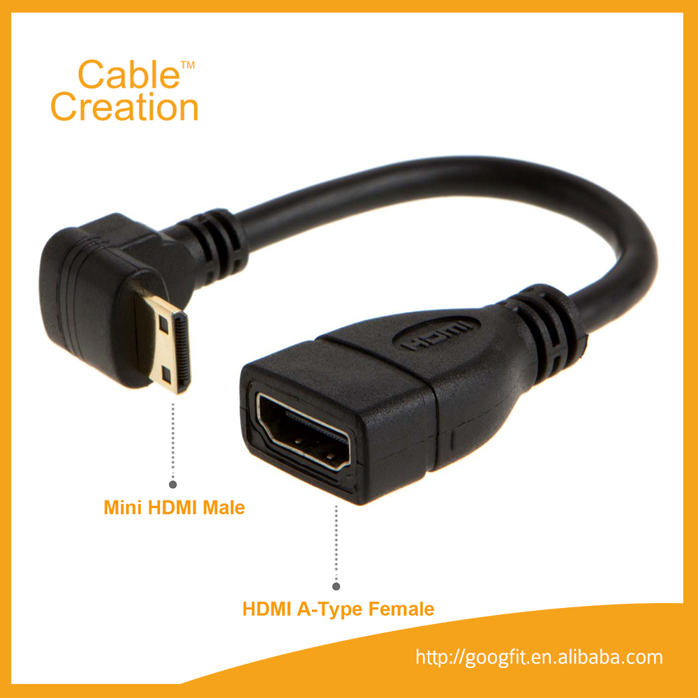0.15m 1080p Downword Angle MINI HDMI to HDMI 2.0 1..4 1.3 Male to Female Adapter Cable