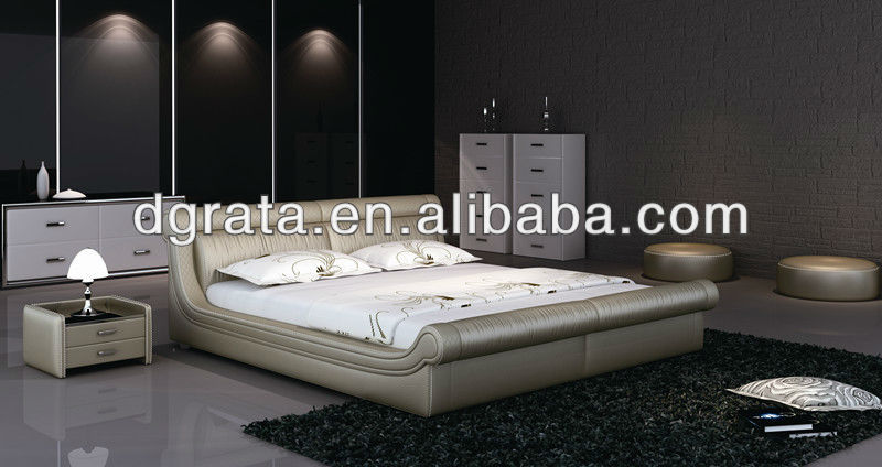 2013 the fancy genuine leather India bed in solid wood frame and genuine leather to be finished for the bedroom house sets