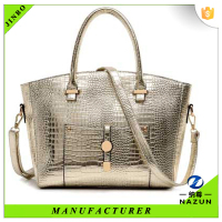 hot sales high quality snake skin silver color PU fashion tote bag for women