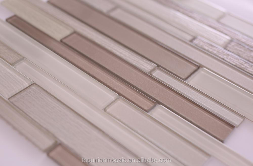 2017 hot selling cultured glass mosaic long strip mosaic wall tile