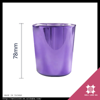 New product custom made purple party decoration candle holder glass container