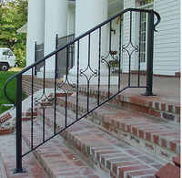 simple wrought iron stair removable handrails