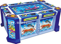 Amusement fishing game machine with bill acceptor