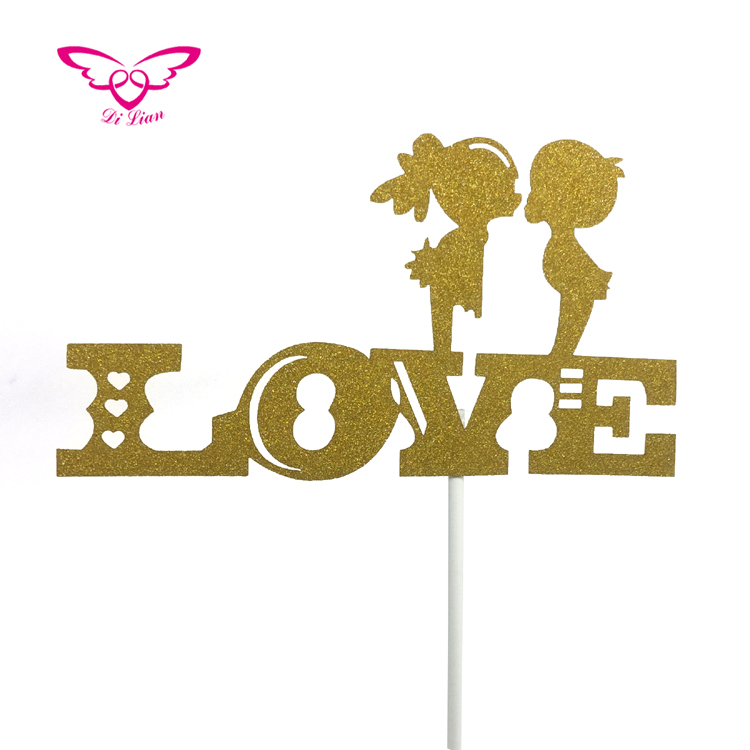 Gold Glitter Paper Kissing Girl And Boy With Love Cake Topper