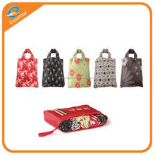 Foldable reusable collapsible polyester shopping bag set, foldable travel bag for retail