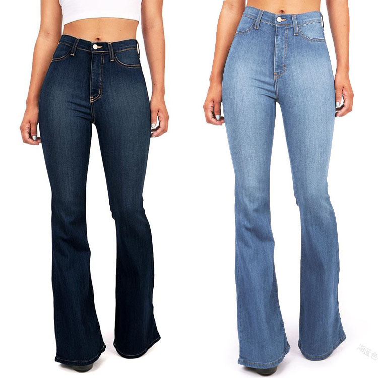 High quality latest design high-waist stretch jeans flared pants women