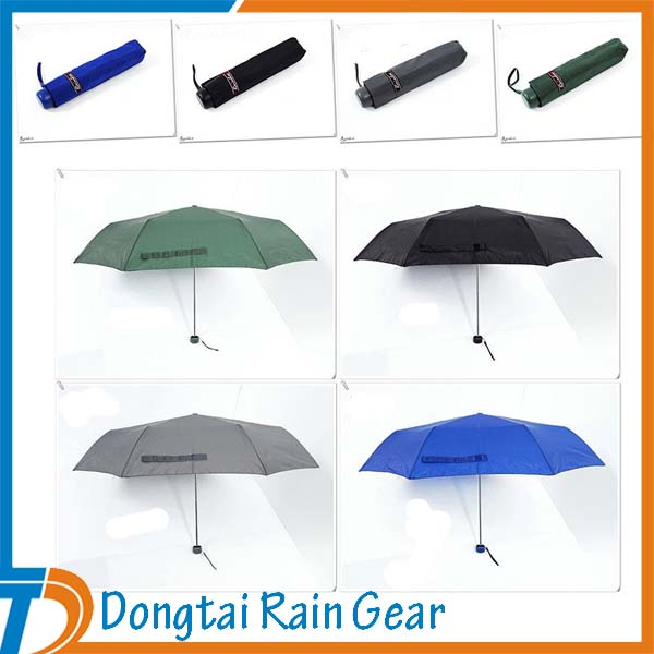Manual Open Promotional Three Sections Small Folding Umbrella