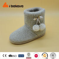 Environmental protection hot sales europe purity knit boot with pompon