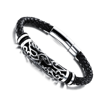 Fashion Hand-carved Patterns Exquisite Snaps Bracelet Stainless steel Genuine Leather unisex Leather Bracelets