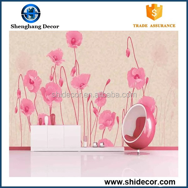 Flower TV background velvet wall paper/wall mual wallpaper waterproof heat resistant wallpaper