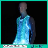 Led lighting clothes fiber optical costumes outdoor tank top mens