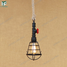 Woven Hemp Rope Industrial Lamps Modern Loft Vintage Bamboo Wooden Pendant Lighting