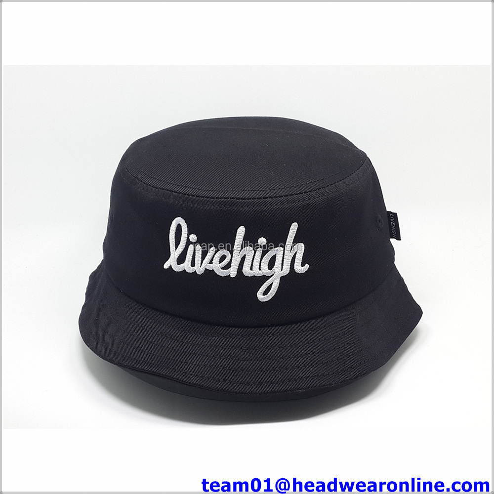 Custom logo cotton black washed sublimation bucket hat