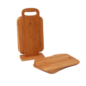 Natural Bamboo Organic 6 pcs Bamboo Cutting Board Set with Holder
