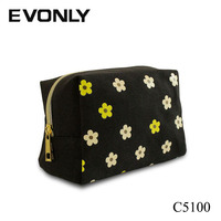 C5100 Online Cheap Promotional Printing Flower Pattern Cosmetic Bag for Makeup Brushes Set, Cheap Cute Makeup Bags