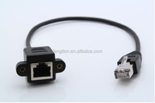Cat5e RJ45 Male to Female Shielded Ethernet LAN Network Screw Panel Mount Extension Cable