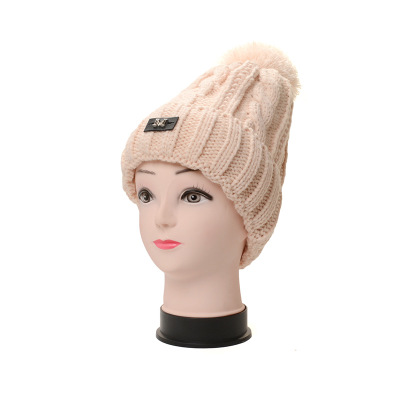 New design quality woman winter warm letter multicolor knit hair ball hat