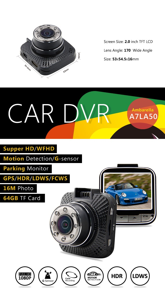 CDV-G3 new private model ambarella a7la70 full hd car dvr dash camear with gps