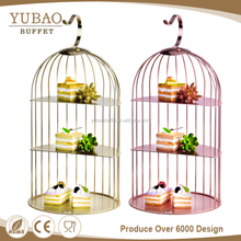 3 Tier stainless steel rose gold bird cage silver wedding dessert cupcake cake display stand