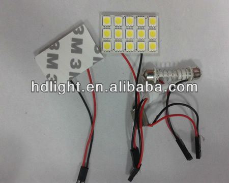 Panel 15-SMD 5050 Car LED Dome Light assembly T10 BA9S 31-44mm