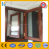 high quality wood grain aluminium casement window with fly screen mosquito net
