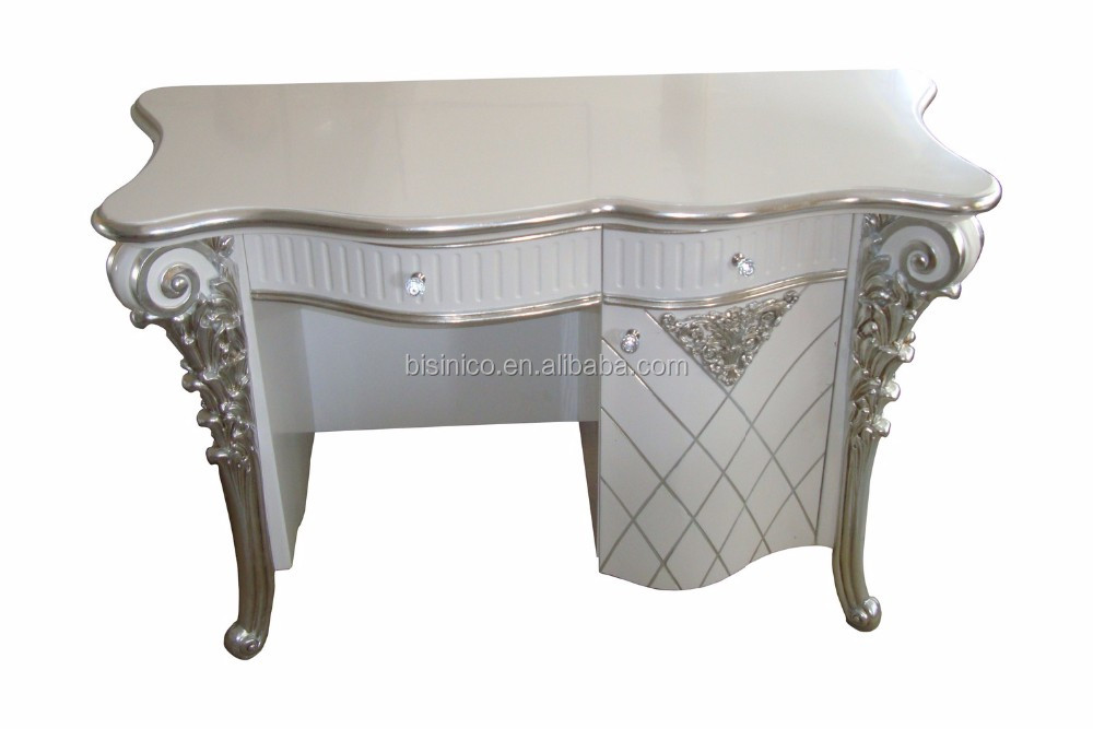 White Glossy Vanity Dressing Table with Silver Foil, Mini Bedroom Wood Carved Tidy Line Designed Dresser Table