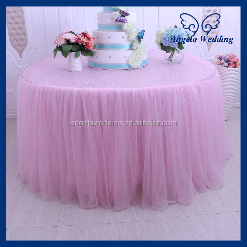 CL058A elegant wedding 120'' round pink tulle and sequin table cloth