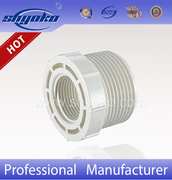 Hot-selling SHYOKO factory PVC BSPT THREAD PIPE FITTINGS, PVC FEMALE AND MALE ADAPTER PLUG BUSH UPVC PIPE FITTINGS