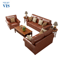 High Quality Leather African Wooden Living Room Furniture/American Simple Design Sofa Set