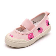 New arrival factory girl popular style pink with strawberry fit kids canvas shoes