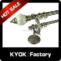 KYOK Hot hotel project M-shape double curtain rod wall bracket, anti-brass & resin curtain finial, wrought iron curtain pole