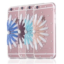 Bling Diamond 3D Clear Case For iPhone 6 6s Cover Case Real Flower Design