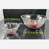 crystal white rose decorated glass dinner 2pcs bowl set