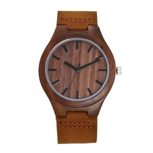 China Manufacturer Men's Wood Watch with Genuine Leather Strap Japanese Quartz Movement Casual Wood Watches