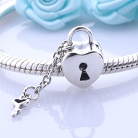 Antique 925 Sterling Silver Key To My Heart Charms DIY Beads Jewelry Accessories Christmas Gift For Brazilian Style Bracelets