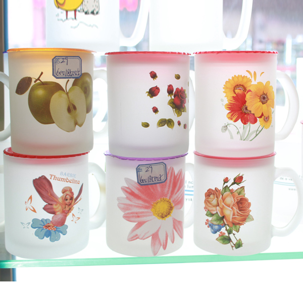 Round Cute Flower Printing Frosted Glass Cup With Lid With Handle Drinking Glass Tumbler
