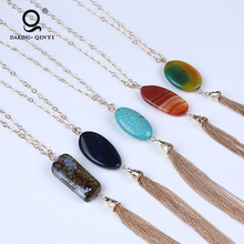 Multi Colors Druzy Quartz Natural Stone Gemstone Tassel Pendant Long Chain Women Necklace