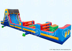 inflatable Obstacle Pillar hurdling with slide