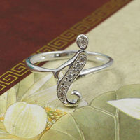 Letter I White CZ Micropaved Solid Silver New Design Ladies Finger Ring