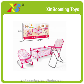 for doll toys baby doll bed,rocking chair,dining chair