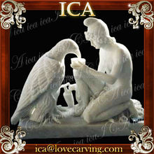 White marble hand carved famous art sculpture staue with eagle